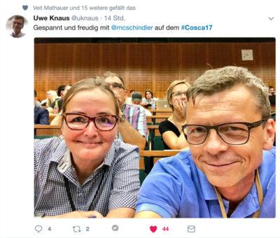 Uwe Knaus Daimler und Marie-Christine Schindler am Content Strategy Barcamp Cosca in Darmstadt 2017