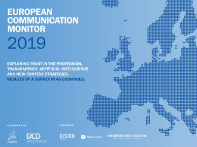 European Communication Monitor 2019 Vertrauen Transparenz Interessenvertretung, Content-Strategie Künstliche Intelligenz KI