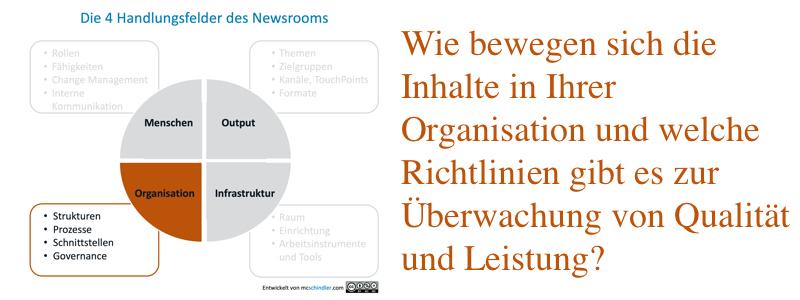4 Handlungsfelder des Newsrooms Organisation. Wie bewegen sich die Inhalte in Ihrer Organisation? Welche Richtlinien gibt es zur Überwachung von Qualität und Leistung?