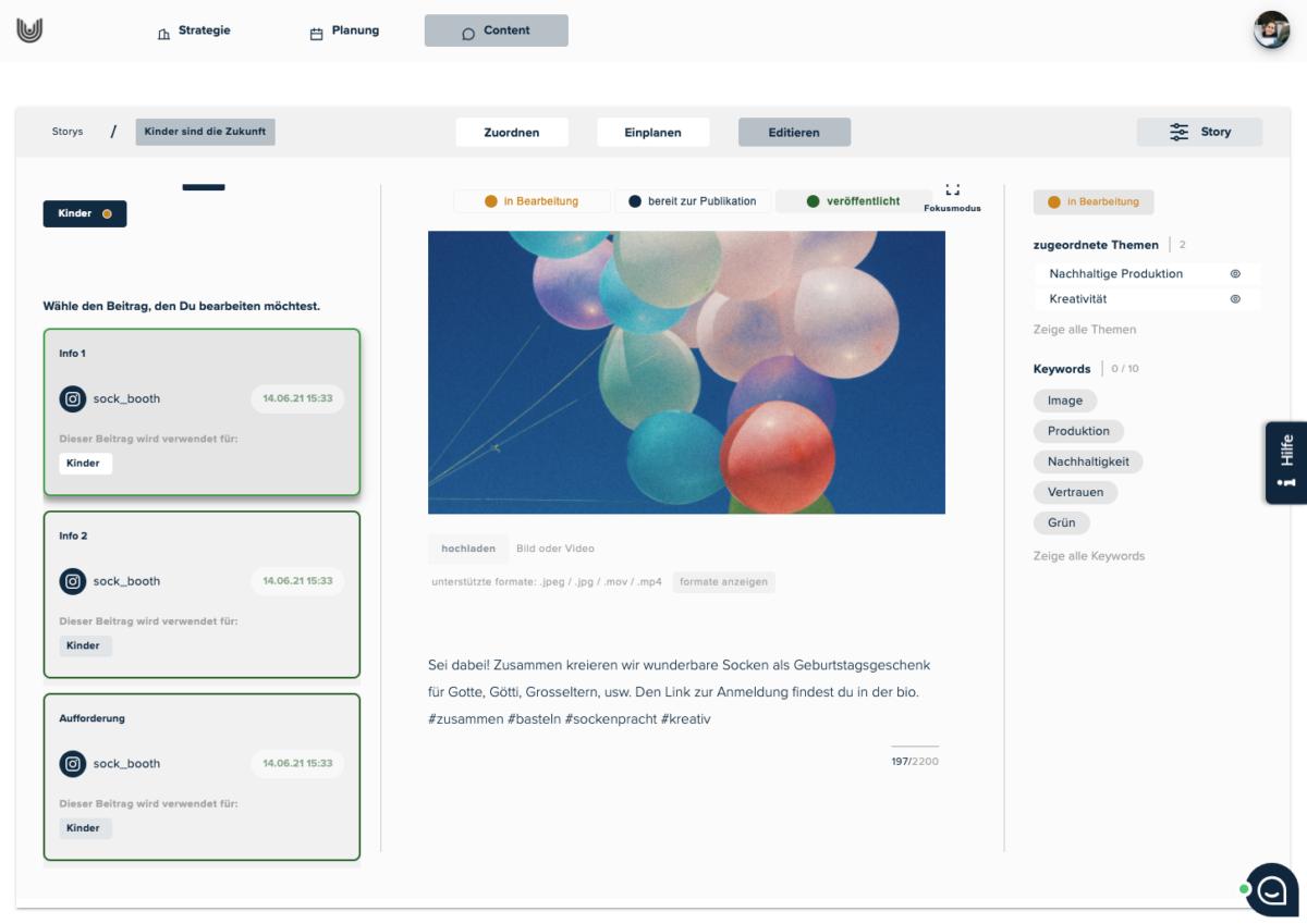 BKW-Newsroom Screenshot uhub Redaktionsplanungstool: Content