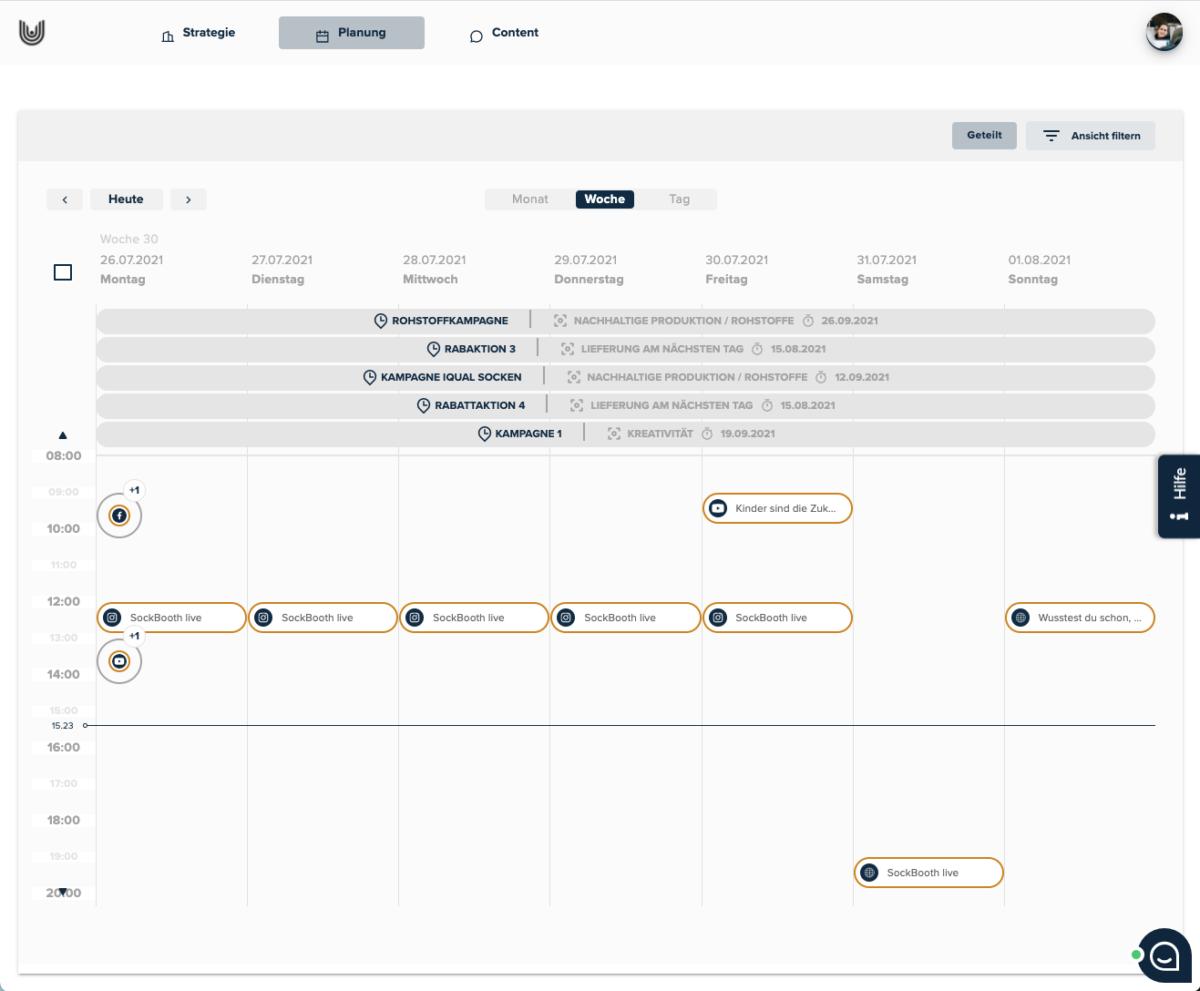 BKW-Newsroom Screenshot uhub Redaktionsplanungstool: Planung