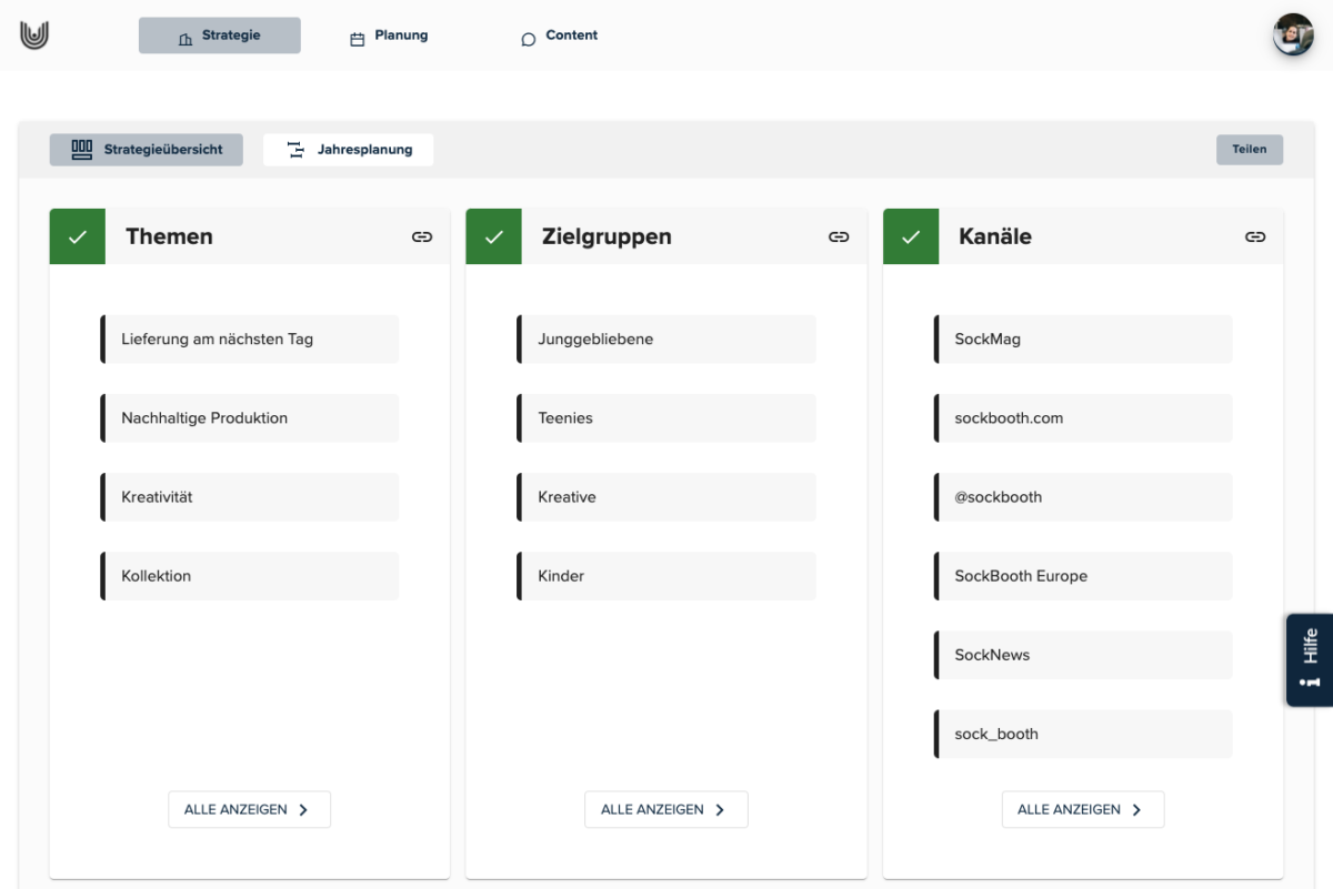 BKW-Newsroom Screenshot uhub Redaktionsplanungstool: Strategie